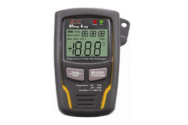 HTC Easy Log Temp-RH Data Logger is an electronic device that records data over time or in relation to location either with a built in sensor or via external instruments and sensors