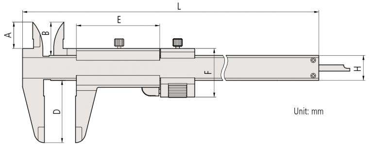 Mitutoyo-532-Series-with-fine-adjustment-Vernier-Caliper-d1 dimensions